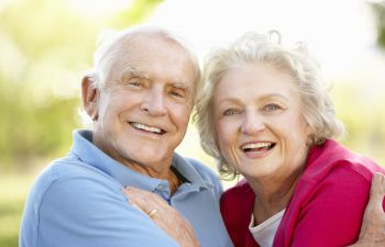 Older Couple Posing for a Camera Marietta GA