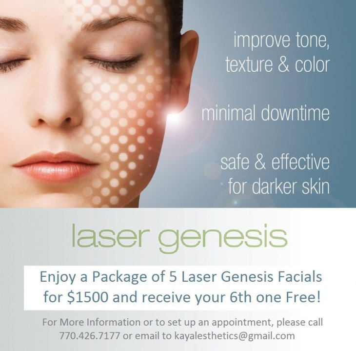 Laser Genesis- Improve tone, texture and color. Minimal downtime. Safe and effective for darker skin.