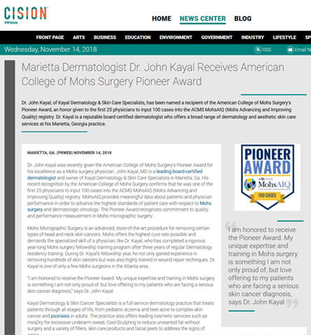 Marietta Dermatologist Dr. John Kayal Receives American College of Mohs Surgery Pioneer Award
